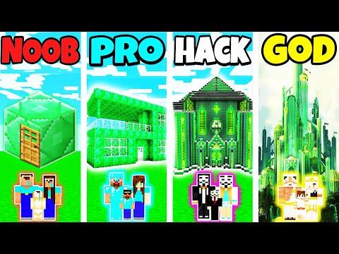 Minecraft: FAMILY EMERALD HOUSE BUILD CHALLENGE - NOOB vs PRO vs HACKER vs GOD in Minecraft