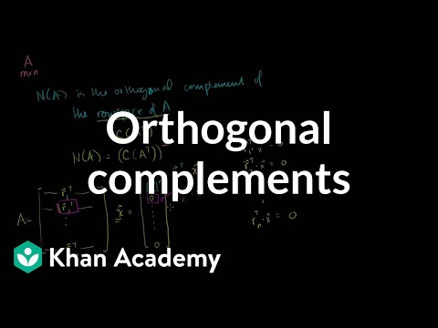 Linear Algebra: Orthogonal Complements