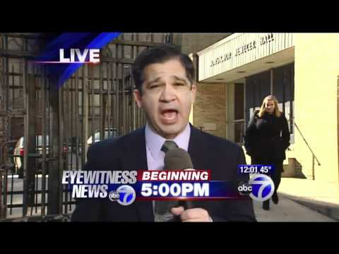 Lady trips and falls during live news broadcast on WABC channel 7