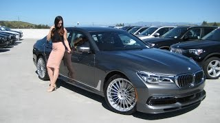 What a color combo! Magellan Gray Metallic with Cognac Nappa Leather. 600 Horsepower / 590 foot pounds of torque. 21 inch Classic Alpina wheels on this 2017 BMW Alpina B7. Icon Adaptive LED Headlights. Alpina only makes 1200 to 1600 vehicles a year for world supply. Follow Trish on Instagram at bmw_trisha. BMW Review. Car Review. Revtime with Trish. Please share on with your other Media Sources. Thumbs Up.