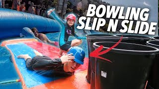 Video HUMAN BOWLING SLIP AND SLIDE (Went Wrong) | Ranz and Niana MP3, 3GP, MP4, WEBM, AVI, FLV Mei 2019