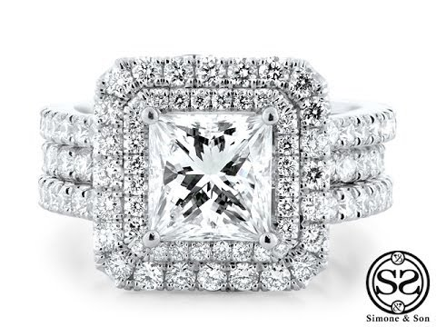 Matching Double Halo Engagement Ring & Wedding Band Set
