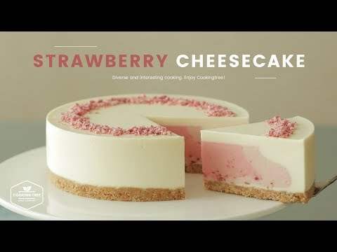 노오븐~ღ'ᴗ'ღ 딸기 치즈케이크 만들기 : No-Bake Strawberry Cheesecake Recipe - Cooking Tree 쿠킹트리*Cooking ASMR