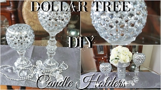 DIY DOLLAR TREE BLING CANDLE HOLDERS 2017 | PETALISBLESS🌹