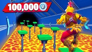 Little Brother Gets 100K VBucks if He Wins (Fortnite Floor is Lava Parkour Challenge)