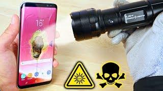 Worlds Brightest Mini Flashlight vs Galaxy S8!