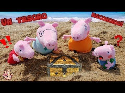 PEPPA PIG y George Descubren un TESORO en la PLAYA / Juguetes de Peppa Pig en español