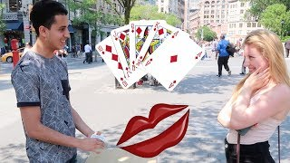 KISSING GIRLS USING A MAGIC CARD TRICK PRANK! Hey guys, so for todays video we decided to do something funny. We decided to do a magic card trick in public, asking females to choose a card and if we get it wrong we get to offer them $50 but if we get it right we get to give them a kiss but its not what you guys thinking about haha were talking about a hershey kiss.Pervious videos: https://www.youtube.com/watch?v=1gPFlgf8J-0https://www.youtube.com/watch?v=55euun94Ewwhttps://www.youtube.com/watch?v=3_DoFr8pJrQhttps://www.youtube.com/watch?v=REc5H7DCUCIhttps://www.youtube.com/watch?v=mNUIrttNOHchttps://www.youtube.com/watch?v=j-smqB1YQcIhttps://www.youtube.com/watch?v=RLmHB...Follow us on:Instagram: Yaknowitsob // Moenaz_flacoSnapchat : YouknowitsOB // Moenaz_flacoTwitter : YaknowitsOB // MoeNaz_