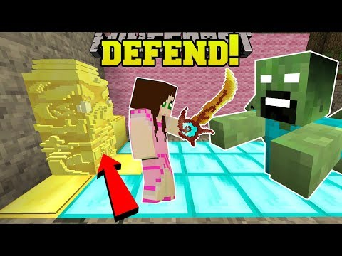 Minecraft: DEFEND THE GOLDEN STATUE!! (SURVIVE WAVES OF INSANE ZOMBIES!) Mini-Game