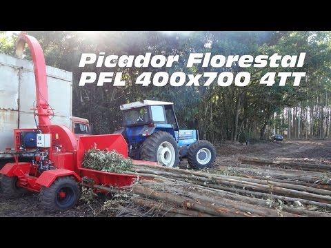 Picando árvores inteiras com o Picador Florestal PFL 400 x 700 4TT Lippel