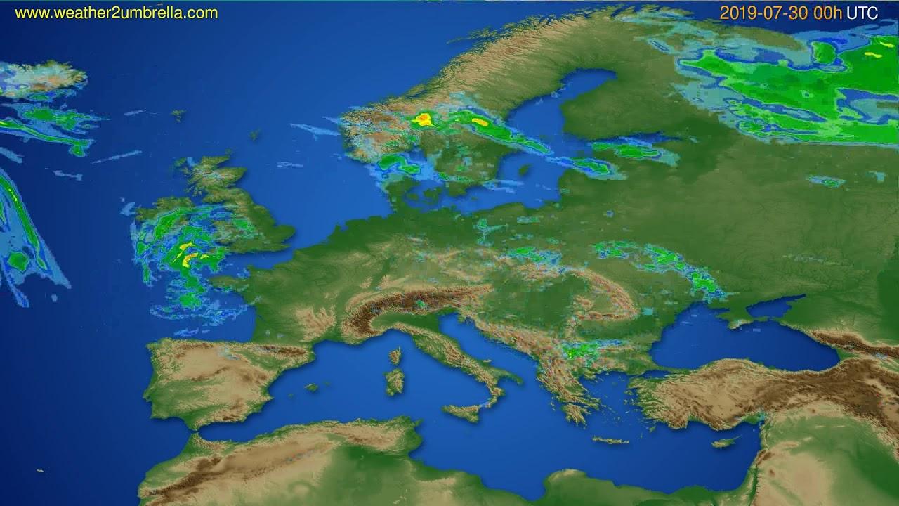 Radar forecast Europe // modelrun: 12h UTC 2019-07-29