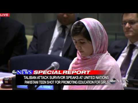 United Nations - Pakistani girl celebrates her 16th birthday on day she speaks to United Nations' student delegates. For more on this story, click here: http://liveblog.abcne...