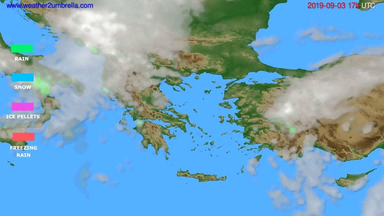Precipitation forecast Greece // modelrun: 00h UTC 2019-09-02