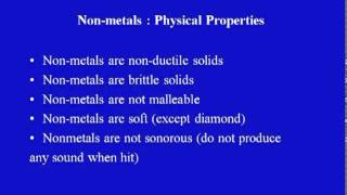 Mod-01 Lec-02 Properties Of Non-Metals