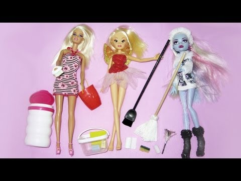 Manualidades para muñecas: Haz utensilios de limpieza para las muñecas Monster High, Barbie y Winx