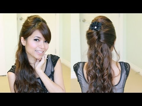 Elegant Prom Half-Updo Hairstyle | Curly Hair Tutorial – Bebexo