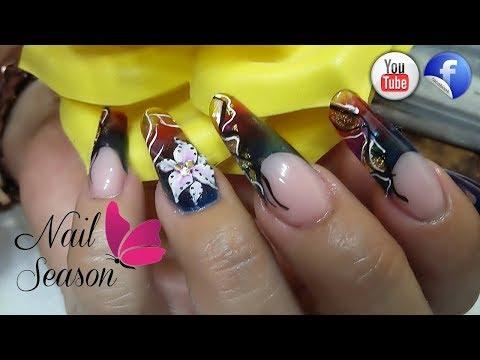 Diseños de uñas - Nail Art Videos Uñas esculturales frances con efecto vitral paso a paso