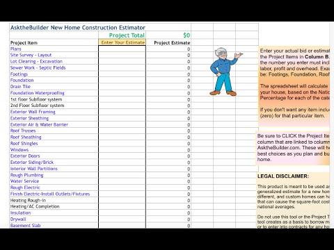 New Home Construction Cost Estimator Tool