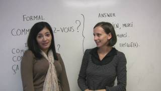 In this free French lesson, Sophie teaches us how to ask how someone is in French, as well as how to answer. Includes a sample conversation with Sonia. Presented by Diplomat Language School in Toronto, Canada