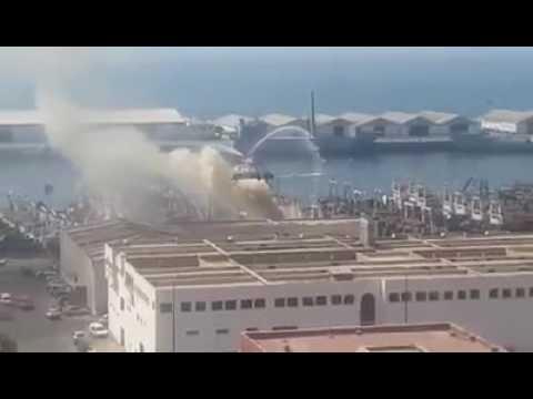 حريق في باخرة بأكادير