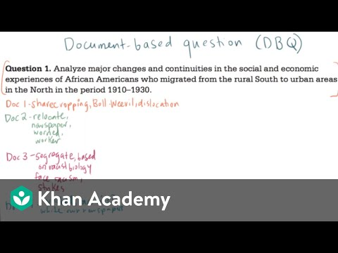 AP US History DBQ Example 3 Video Khan Academy