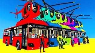 LEARN COLORS Bus Helicopter w Spiderman for Children - Cars Superheroes for Kids