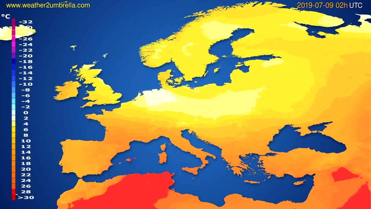 Temperature forecast Europe // modelrun: 12h UTC 2019-07-06