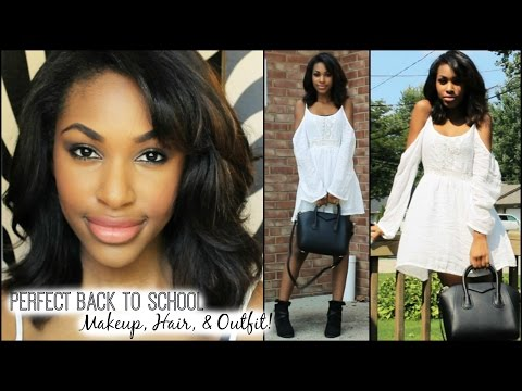 Hair - Here's a perfect back to school makeup, hair, and outfit look! Enjoy, ily xx CAN WE BEAT 2000 LIKES?! Rosa Hair Co: http://www.aliexpress.com/store/product/retail-brazilian-hair-weft-virgin-remy-...