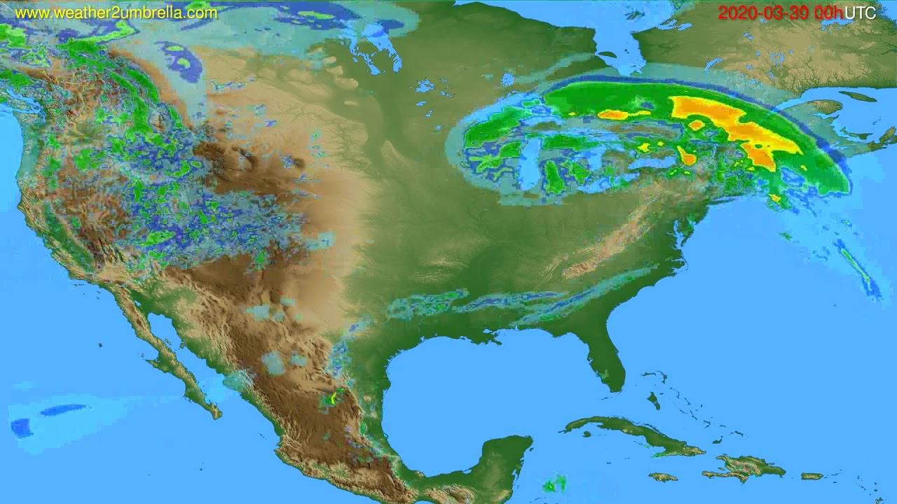 Radar forecast USA & Canada // modelrun: 12h UTC 2020-03-29