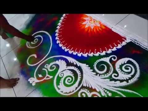 Video Innovative Rangoli Most popular Peacock Rangoli Design by Satish Thavi Best peacock rangoli download in MP3, 3GP, MP4, WEBM, AVI, FLV January 2017