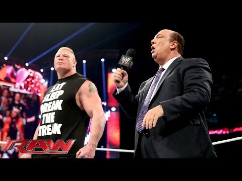 Paul Heyman and Brock Lesnar address the end of The Streak: Raw, April 7, 2014