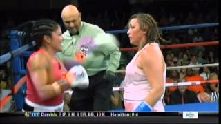 Woman boxer goes crazy, eats punches with hands down