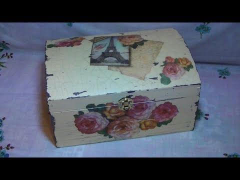 tutorial: decoupage su bauletto di legno con carta di riso