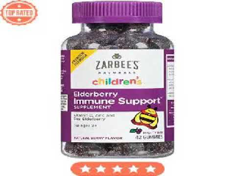 Zarbee's Naturals Children's Elderberry Immune Support- Gummies with Vitamin C, Zinc, Natural Berry
