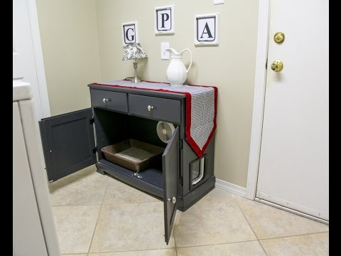 DIY Upcycling Project Turning a Hutch into a Kitty Litter Box
