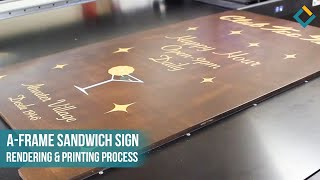 Wooden Sandwich Sign Rendering & Printing Process for Club Tree