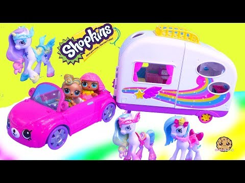 Rainbow Beach Camper + Unicorns ! Happy Places Shopkins Shoppies Summer Toys