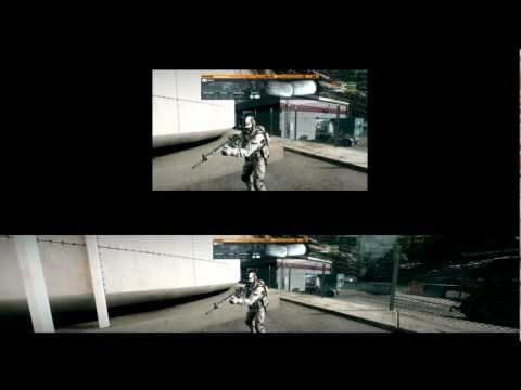 single monitor - Battlefield 3 - Damavand Peak - 6950 Crossfire - Eyefinity vs Single 1080p - Gameplay - (5-3-2012) Comparison showing gameplay view of Eyefintiy setup (tripl...