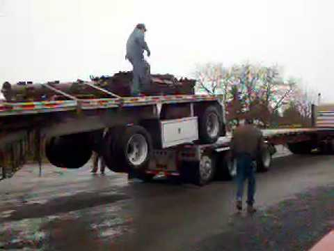 Unloading a flatbed semi made easy