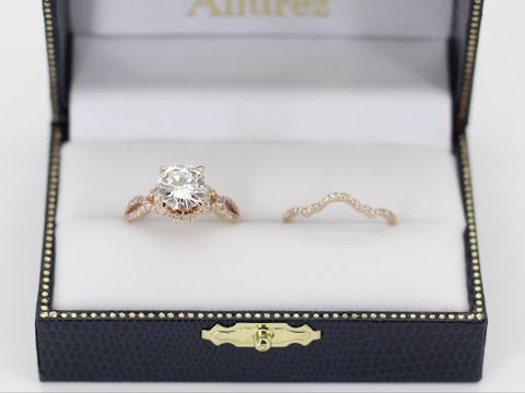 Twisted Infinity Engagement Ring Bridal Set 18k Rose Gold by Allurez
