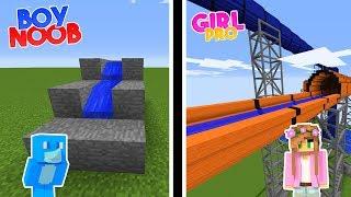 NOOB VS PRO WATER SLIDE CHALLENGE - BOY VS GIRL   Minecraft w/ Little Kelly