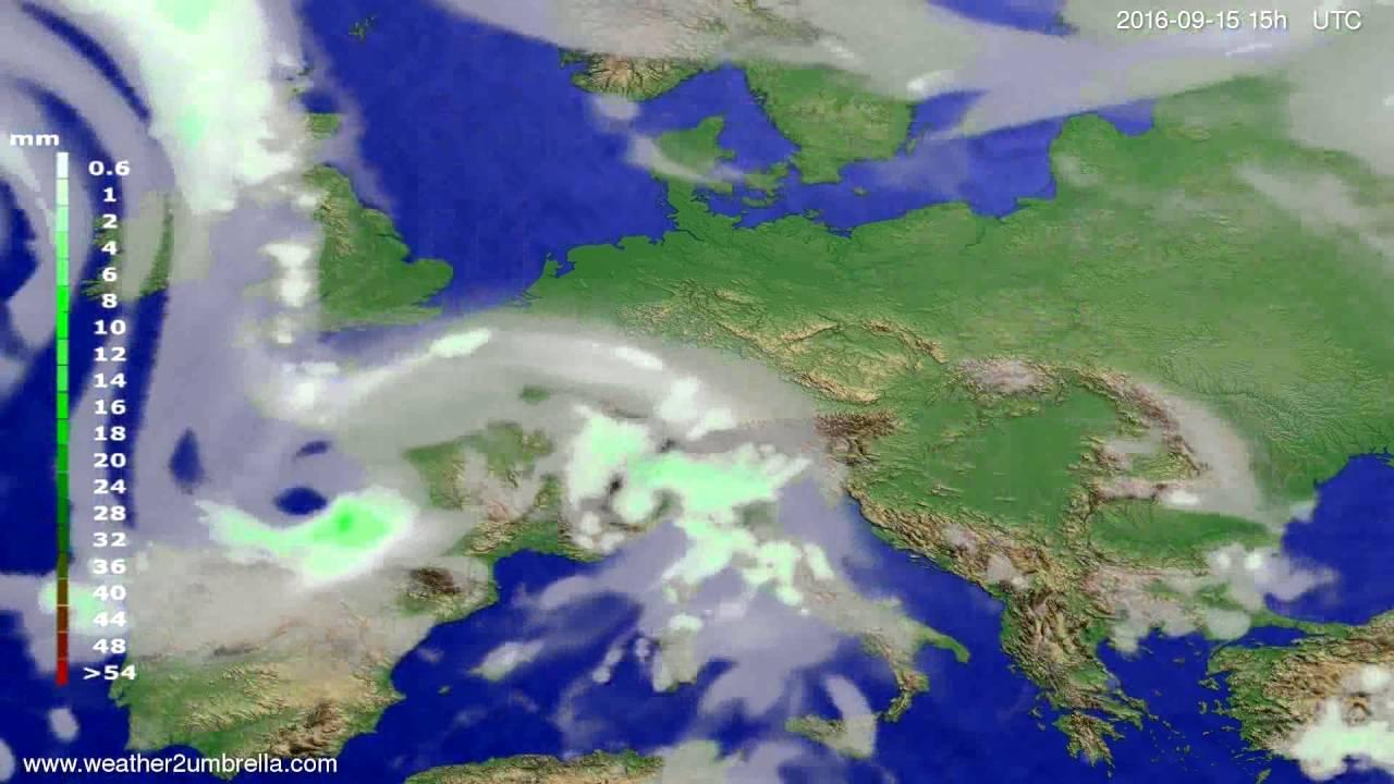 Precipitation forecast Europe 2016-09-13