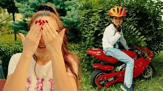 HIDE and SEEK on Power wheels! Funny Den on SPORT BIKE vs Mom on SEGWAY. Kids pretend play