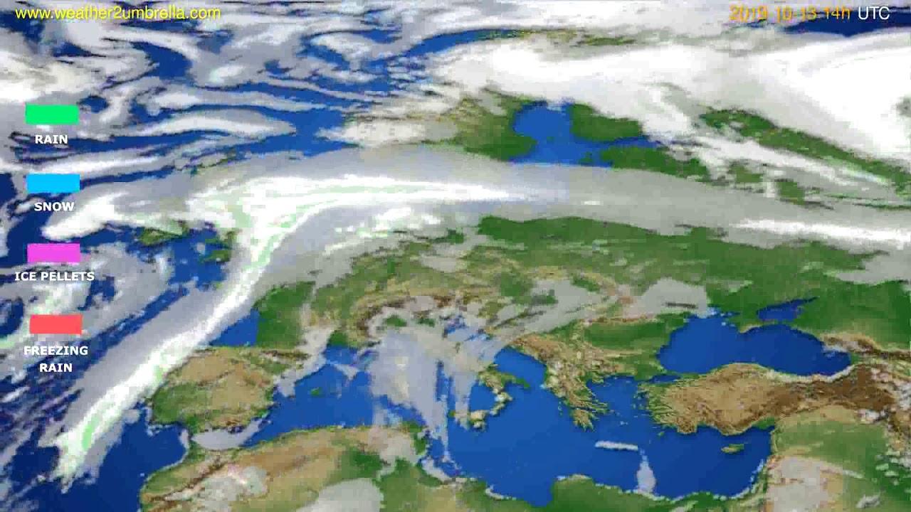 Precipitation forecast Europe // modelrun: 00h UTC 2019-10-11