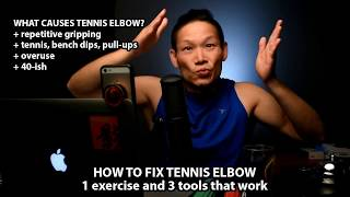 the best tennis elbow treatment: 1 exercise and 3 tools that workhttp://bit.ly/dqtenniselbowNOTE: if links are missing in the website above, turn off your Ad Blockers and they should magically appear :)+ Subscribe to the Show: http://bit.ly/chineSecrets+ Learn to Livestream: http://bit.ly/lgresMore chineSecrets: http://chineSecrets.comLearn to Livestream: http://livestreamgeek.com--- HOW TO SUPPORT THE SHOW ---Thanks for watching!   If you like what you've seen and would like to help us create more videos like this, we'd love for you to start your online shopping off with the links below. As affiliates we get a small percentage of qualifying purchases but rest assured you won't pay a cent more than buying it elsewhere on the world-wide-web. Every purchase helps no matter how big or small, so THANK YOU for starting your shopping off with our links! Amazon.com - http://amzn.to/2nYarYCAmazon.ca - http://amzn.to/2nMREPuAmazon.co.uk - http://amzn.to/2oMaILoB&H Photo - https://bhpho.to/2ooyxNfAdorama - http://bit.ly/1EGcfqWEbay - http://ebay.to/2oMgMDLIf you love what you've seen and want to contribute towards the show on a monthly basis, please consider becoming a Patron here:  https://www.patreon.com/chineSecretsFor more Behind the Scenes and to start a conversation:Facebook: http://facebook.com/chineSecretsInstagram: http://instagram.com/chinesecretsTwitter: http://twitter.com/chinesecretsGod bless, and see you in the next video :)Multistreaming with https://restream.io/