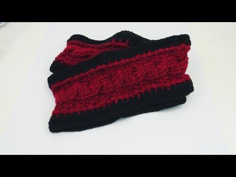 Häkeln Schal Loop Zopfmuster Doppelloop Winterschal Rot Schwarz Crochet Anleitung