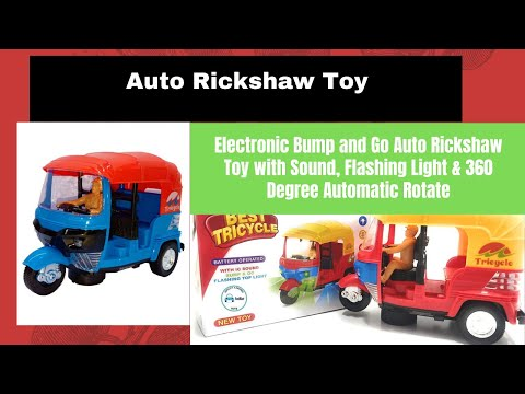 Electronic Bump and Go Auto Rickshaw Toy with Sound, Flashing Light & 360 Degree Automatic Rotate
