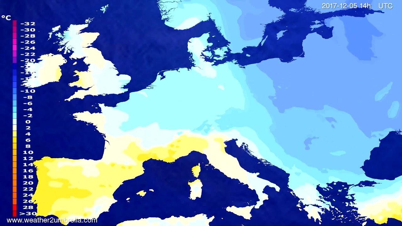 Temperature forecast Europe 2017-12-01