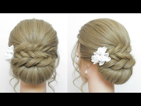 Braid hairstyles - Updo Hairstyles: Low Bun With Fishtail Braid And Twist.