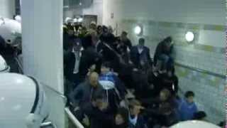 Hooligans Fall In Fast Escalator